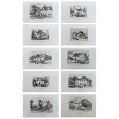 Set of 10 Antique Prints of English Country Cottages, circa 1840