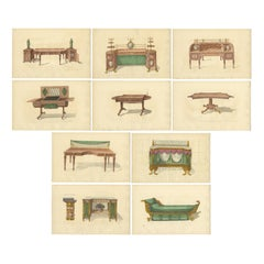 Set of 10 Antique Prints of Various Furniture by Sheraton '1805'