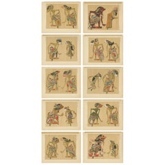 Set of 10 Antique Prints of Wayang Puppets by Juynboll, 1900