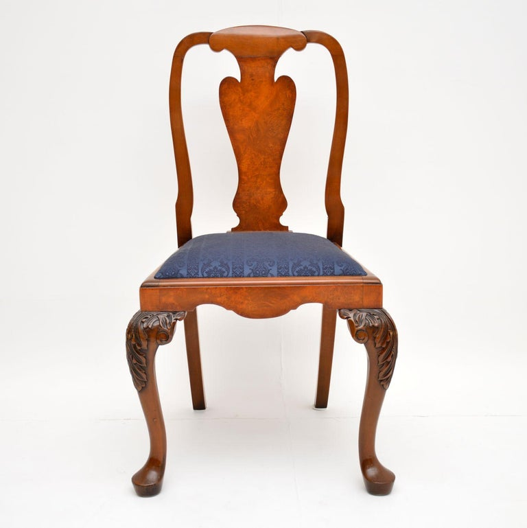 English Set of 10 Antique Queen Anne Style Burr Walnut Dining Chairs For Sale