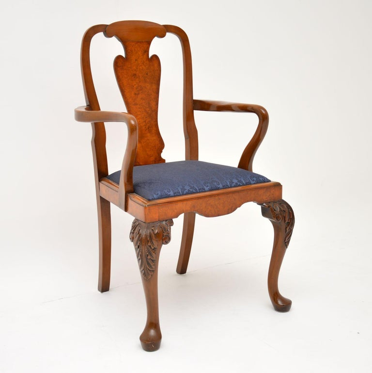 20th Century Set of 10 Antique Queen Anne Style Burr Walnut Dining Chairs For Sale