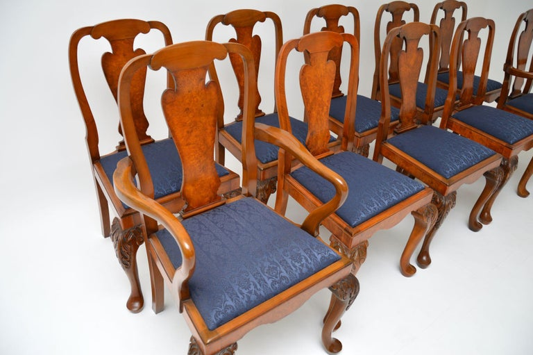 Fabric Set of 10 Antique Queen Anne Style Burr Walnut Dining Chairs For Sale