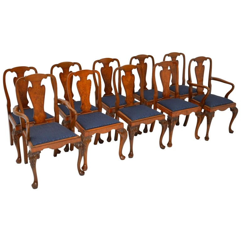Set of 10 Antique Queen Anne Style Burr Walnut Dining Chairs For Sale
