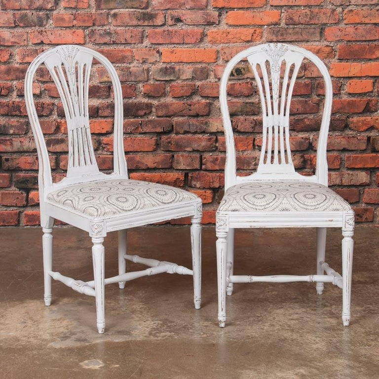 20th Century Set of 10 Antique Swedish Gustavian Gray Painted Dining Chairs For Sale