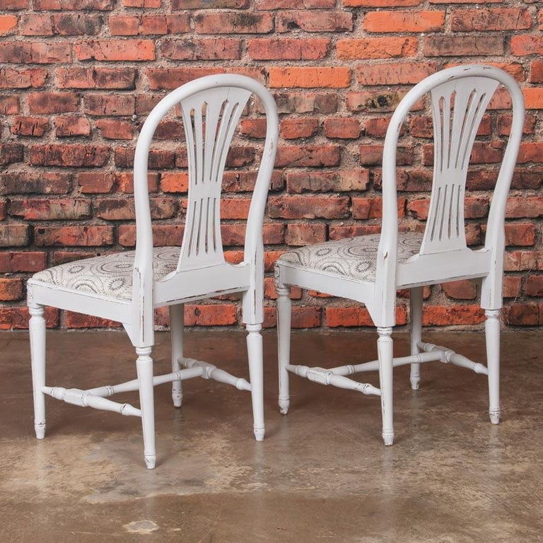 Wood Set of 10 Antique Swedish Gustavian Gray Painted Dining Chairs For Sale