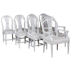 Set of 10 Antique Swedish Gustavian Gray Painted Dining Chairs