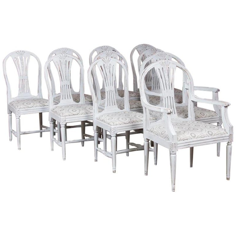 Set of 10 Antique Swedish Gustavian Gray Painted Dining Chairs For Sale