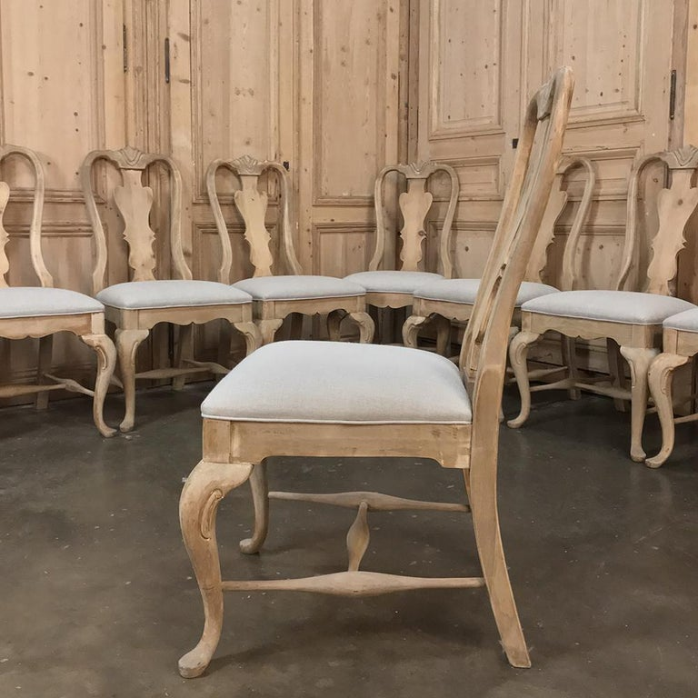 Set of 10 Antique Swedish Stripped Dining Chairs For Sale 3