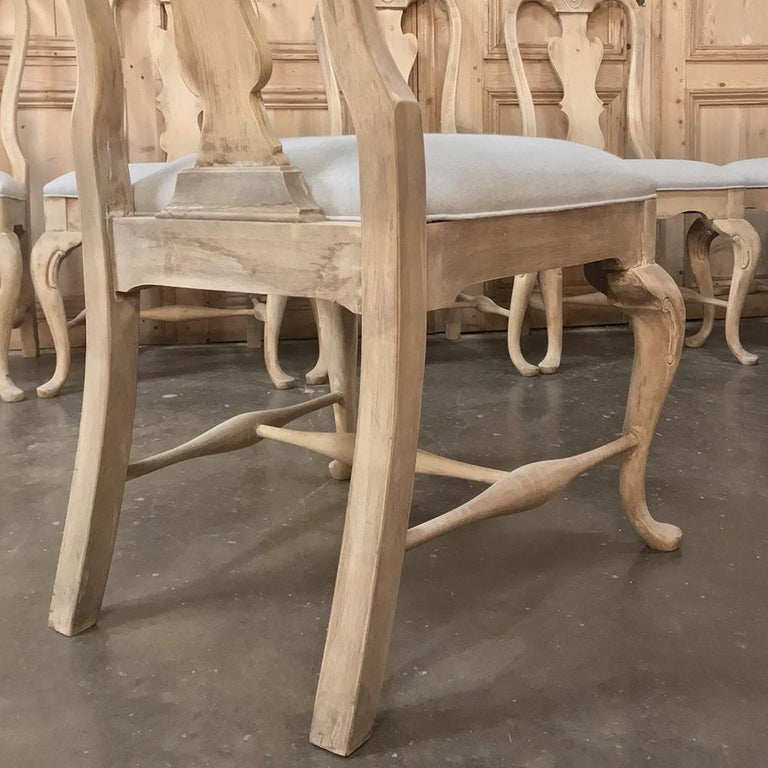 Set of 10 Antique Swedish Stripped Dining Chairs For Sale 5