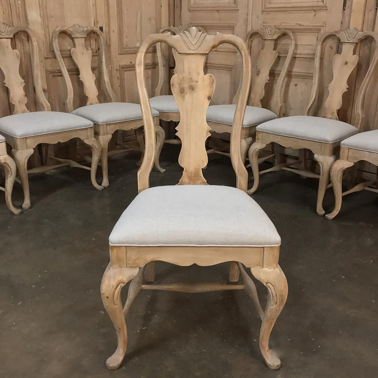 Rococo Revival Set of 10 Antique Swedish Stripped Dining Chairs For Sale