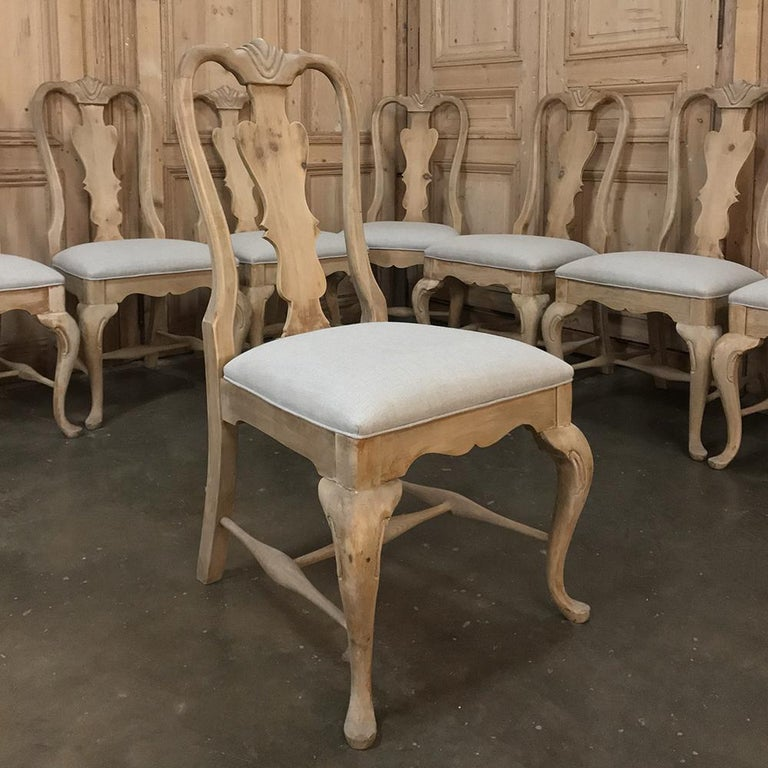 Hand-Crafted Set of 10 Antique Swedish Stripped Dining Chairs For Sale