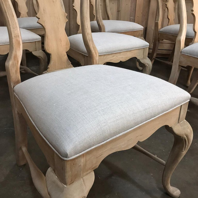 Linen Set of 10 Antique Swedish Stripped Dining Chairs For Sale