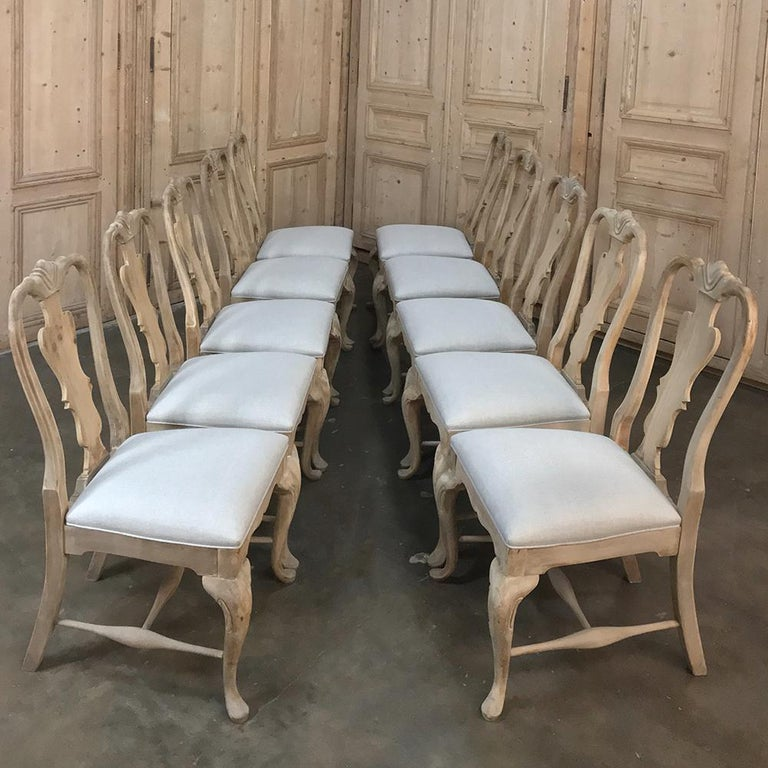 Set of 10 Antique Swedish Stripped Dining Chairs For Sale 2