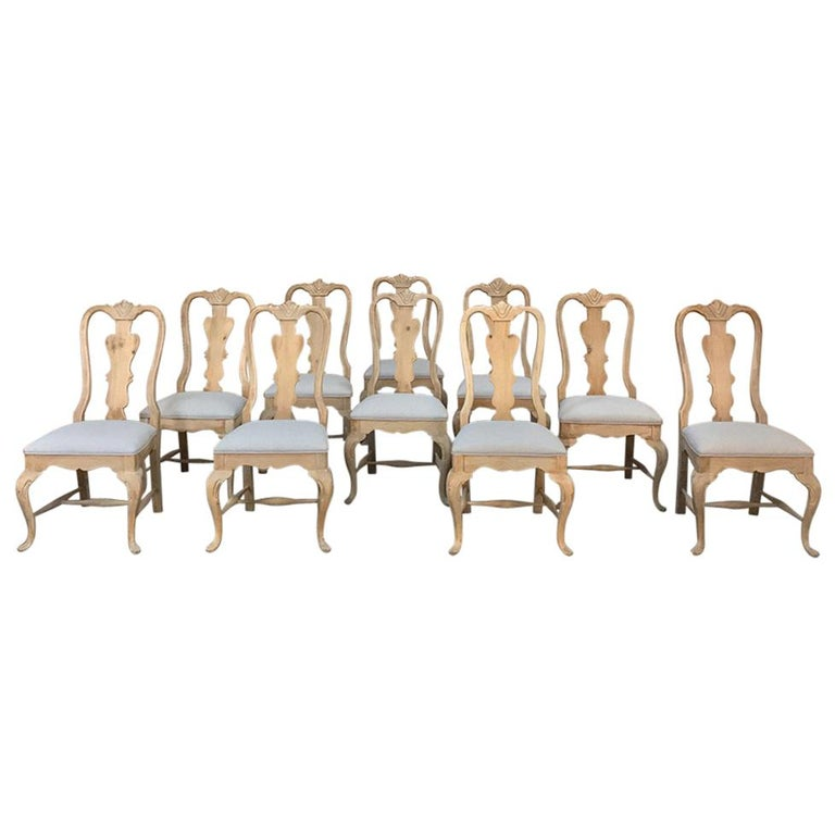 Set of 10 Antique Swedish Stripped Dining Chairs For Sale