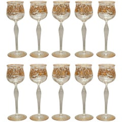 Set of 10 Antique Venetian Wine Glasses with Gilding