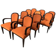Set of 10 Art Deco Armchairs, Black Lacquer, Orange Fabric, France, circa 1930