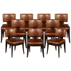 Set of 10 Art Deco Inspired Leather Dining Chairs