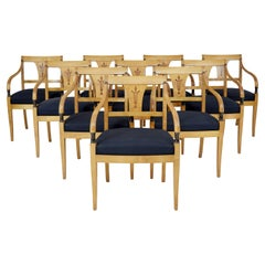 Set of 10 art deco Swedish birch dining armchairs