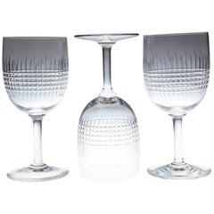 Set of 10 Baccarat Crystal 'Nancy' Pattern Red Wine Glasses, circa 1950s