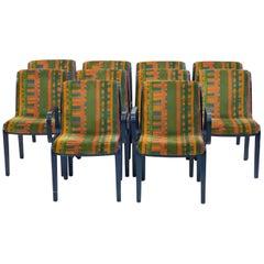 Set of 10 Bill Stephens 1300 Series Knoll Dining Chairs with Larsen Velvet, 1974
