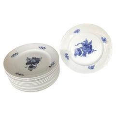 Set of 10 Blue & White Royal Copenhagen Denmark Service Dinner Plates