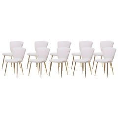 Set of 10 Brass Leg Dining Chairs by Louis Sognot for Arflex, Italy, 1959