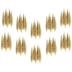 Set of 10 Brutalist Wall Sconces in Brass by Holm Sorensen, 1960s