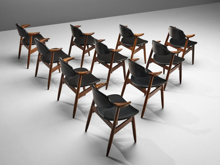 Dutch Set of 10 'Bullhorn' Dining Chairs in Teak and Faux Leather For Sale