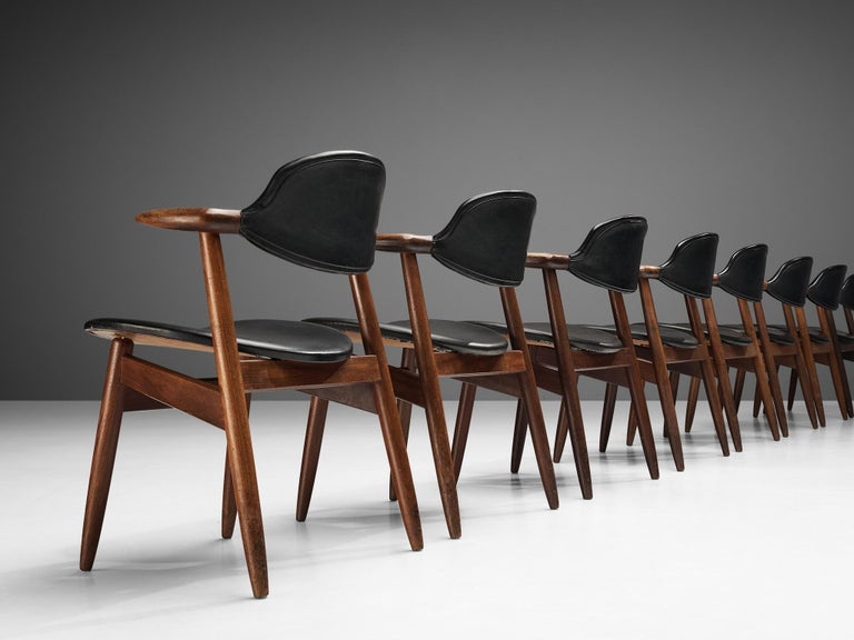 Set of 10 'Bullhorn' Dining Chairs in Teak and Faux Leather For Sale 2