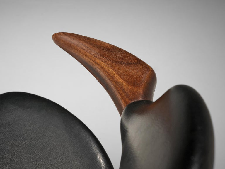 Set of 10 'Bullhorn' Dining Chairs in Teak and Faux Leather For Sale 3