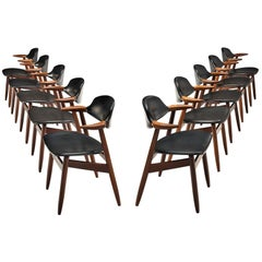 Set of 10 'Bullhorn' Dining Chairs in Teak and Faux Leather