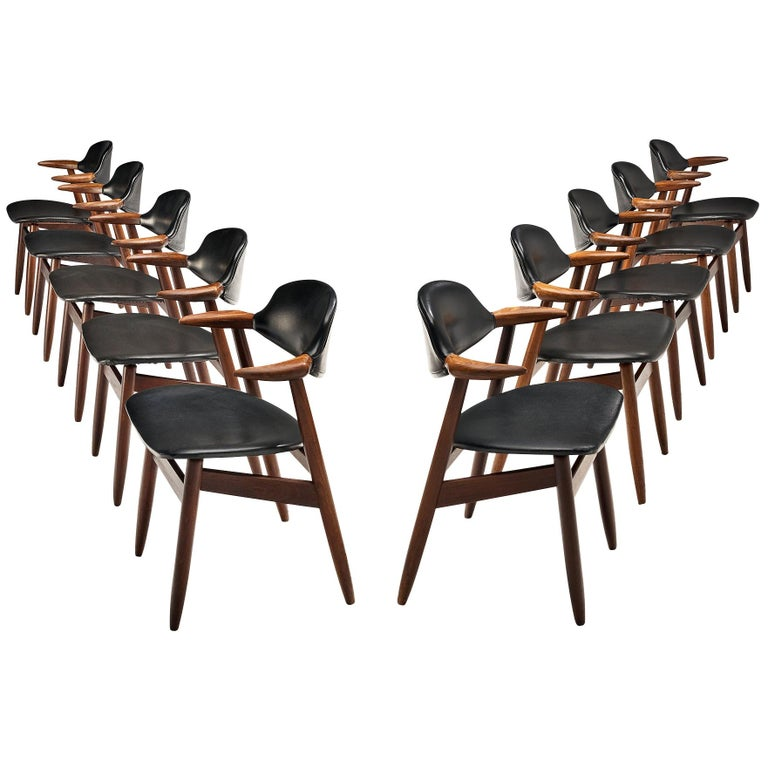 Set of 10 'Bullhorn' Dining Chairs in Teak and Faux Leather For Sale