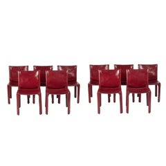 Set of 10 Burgundy Cab Dining Chairs by Mario Bellini for Cassina, 1977