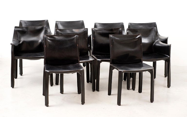 Mid-Century Modern Set of 10 Cab Chairs by Mario Bellini, 6 Arm, 4 Side, in Black Leather, 1970s For Sale