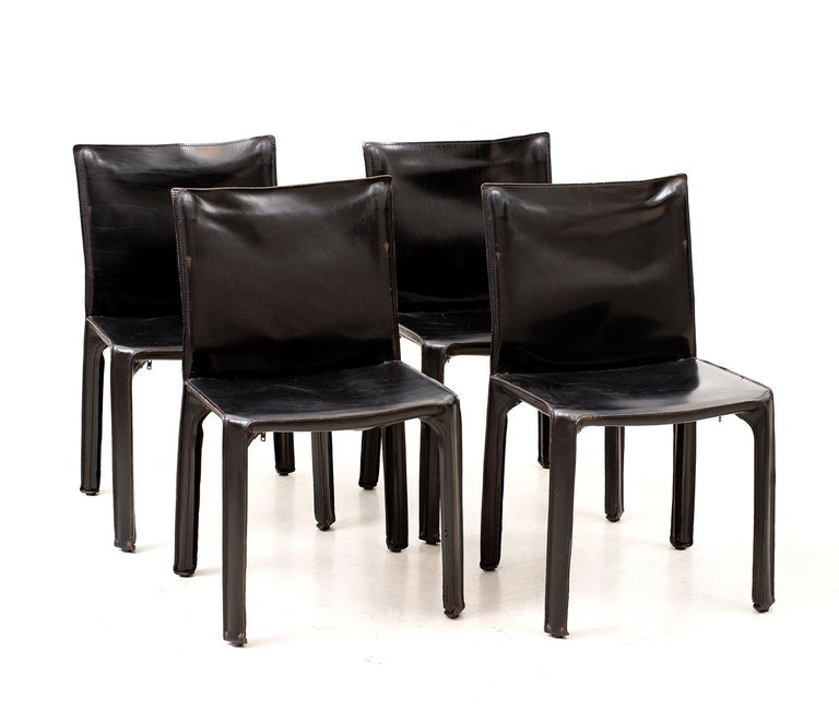 Italian Set of 10 Cab Chairs by Mario Bellini, 6 Arm, 4 Side, in Black Leather, 1970s For Sale