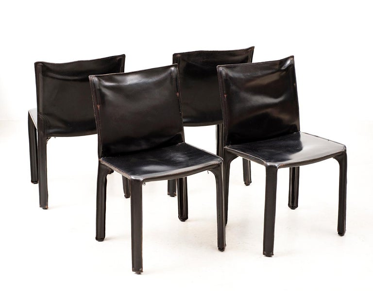 Set of 10 Cab Chairs by Mario Bellini, 6 Arm, 4 Side, in Black Leather, 1970s In Good Condition For Sale In Santa Fe, NM
