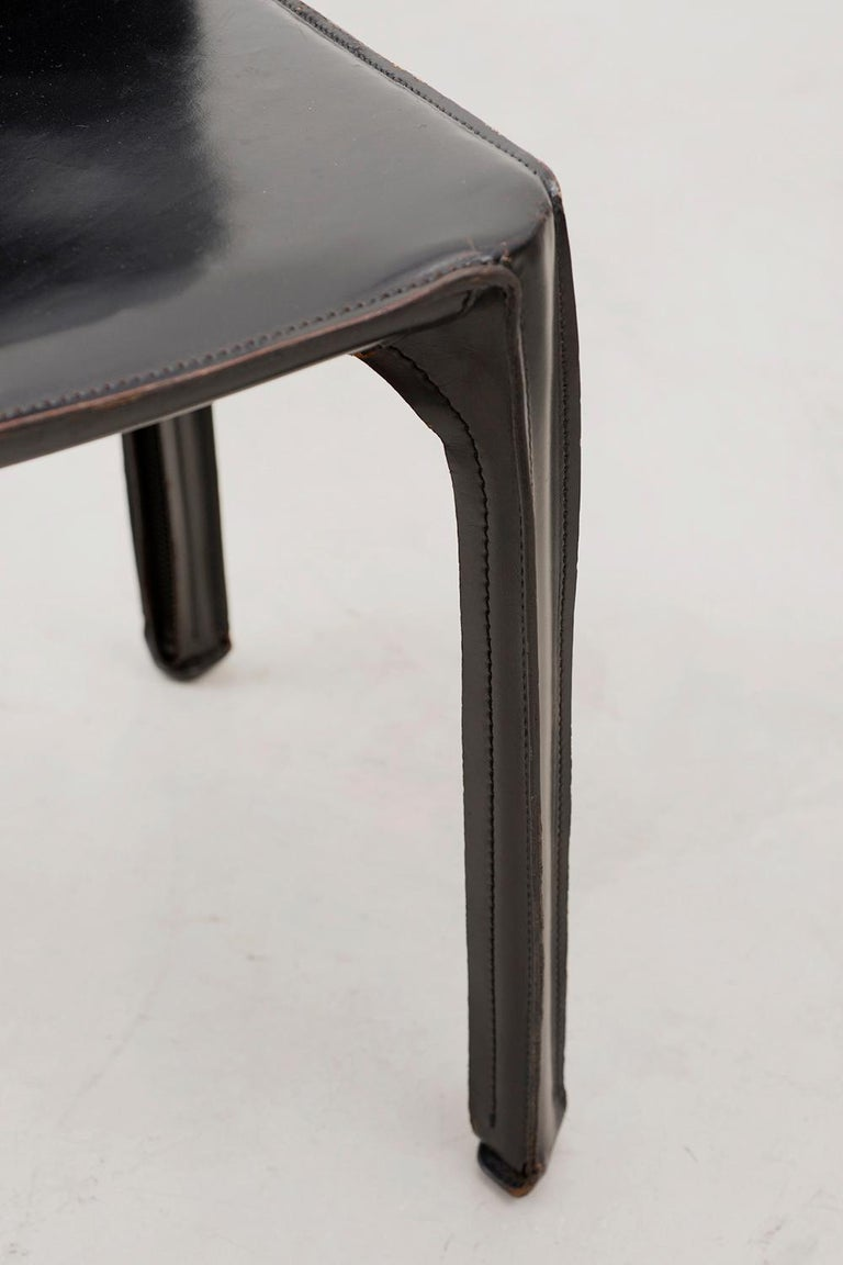 Set of 10 Cab Chairs by Mario Bellini, 6 Arm, 4 Side, in Black Leather, 1970s For Sale 2