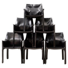 Set of 10 Cab Chairs by Mario Bellini, 6 Arm, 4 Side, in Black Leather, 1970s
