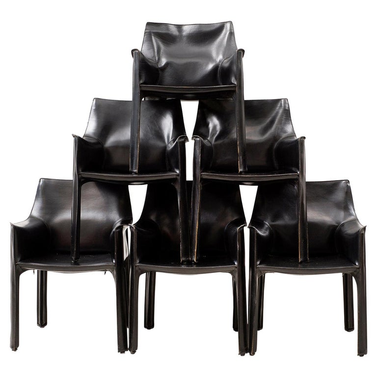 Set of 10 Cab Chairs by Mario Bellini, 6 Arm, 4 Side, in Black Leather, 1970s For Sale