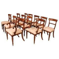 Set of 10 Chairs and Two Armchairs 19th Century in Mahogany Regency