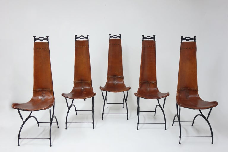 Leather Set of 10 Chairs by François & Sido Thevenin For Sale