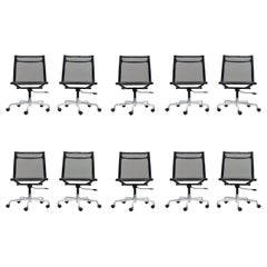 Set of 10 Charles Eames Aluminum Group Chairs
