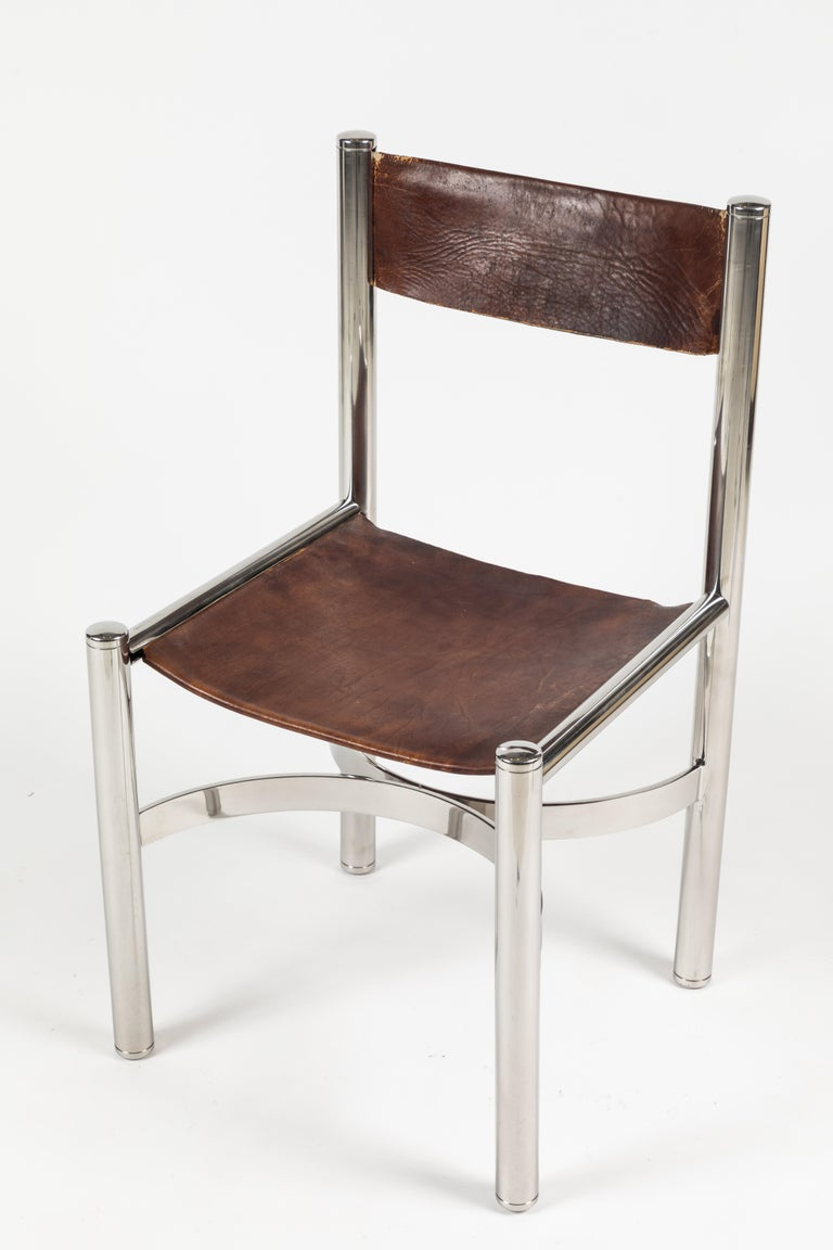 Set of 10 Chrome and Leather Dining Chairs by Dada ...