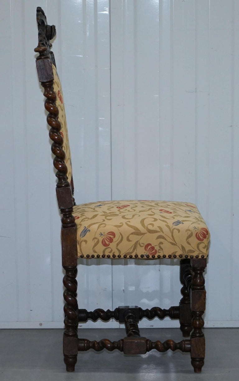 Set Of 10 Circa 1800 Oak Jacobean Style Dining Chairs