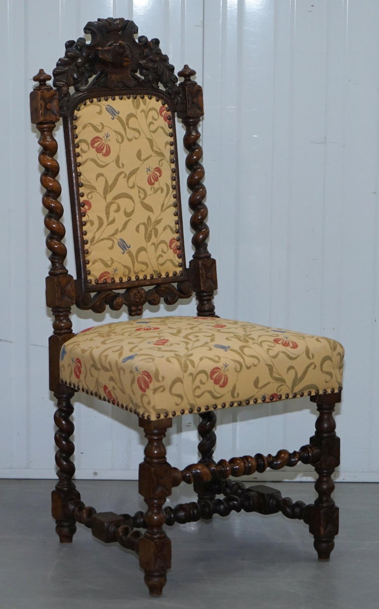 Set of 10, circa 1800 Oak Jacobean Style Dining Chairs with Dog Head Cresting For Sale 5