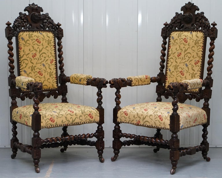 Set of 10, circa 1800 Oak Jacobean Style Dining Chairs with Dog Head Cresting For Sale 7