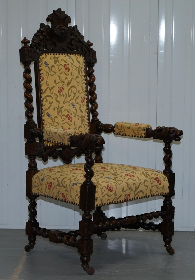 Set of 10, circa 1800 Oak Jacobean Style Dining Chairs with Dog Head Cresting For Sale 8