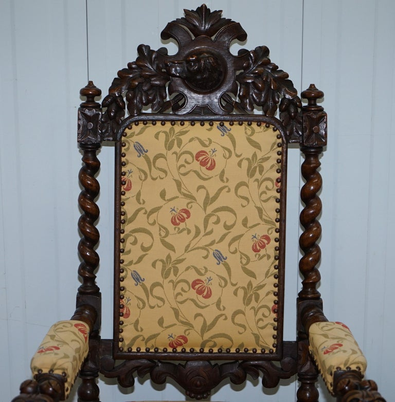 Set of 10, circa 1800 Oak Jacobean Style Dining Chairs with Dog Head Cresting For Sale 10