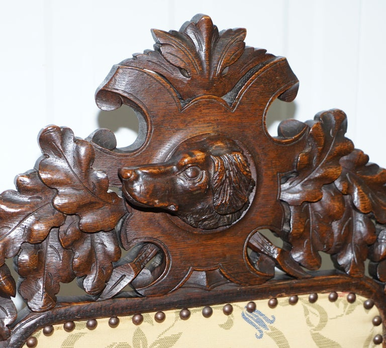 Set of 10, circa 1800 Oak Jacobean Style Dining Chairs with Dog Head Cresting For Sale 11