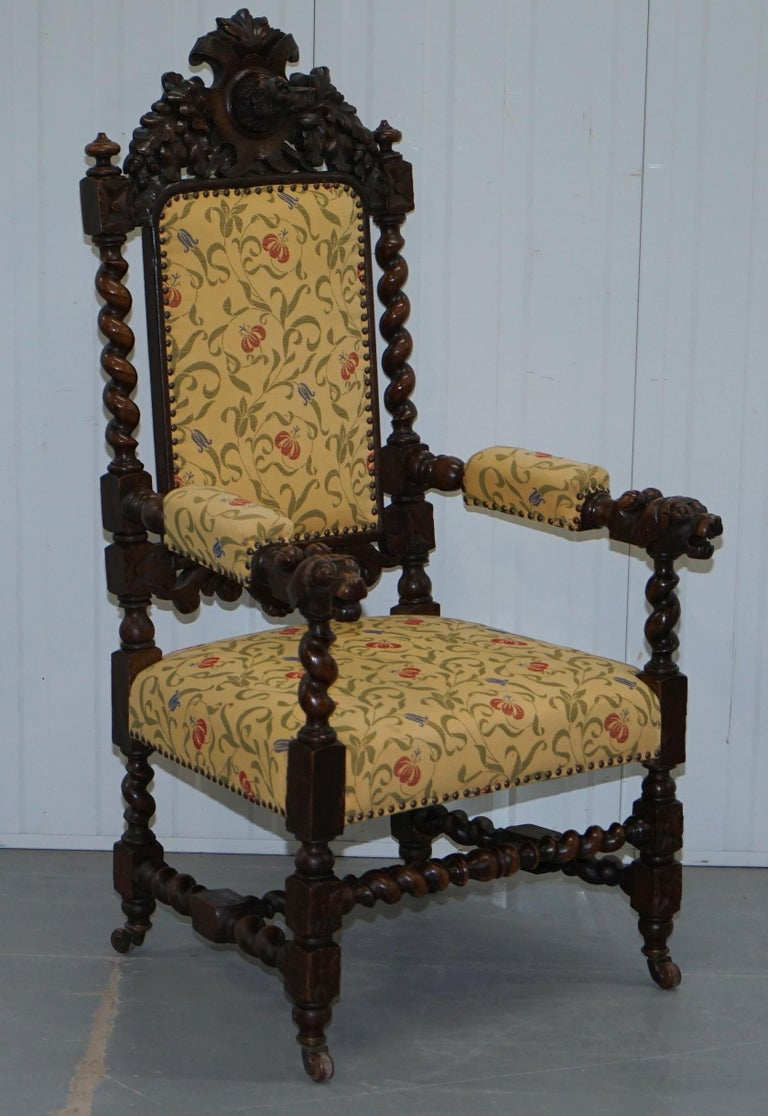 Set of 10, circa 1800 Oak Jacobean Style Dining Chairs with Dog Head Cresting For Sale 12